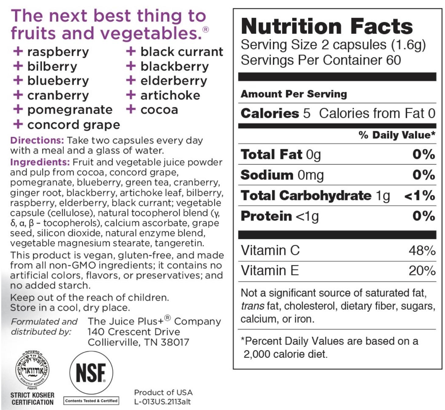 Juice Plus berry nutrition label