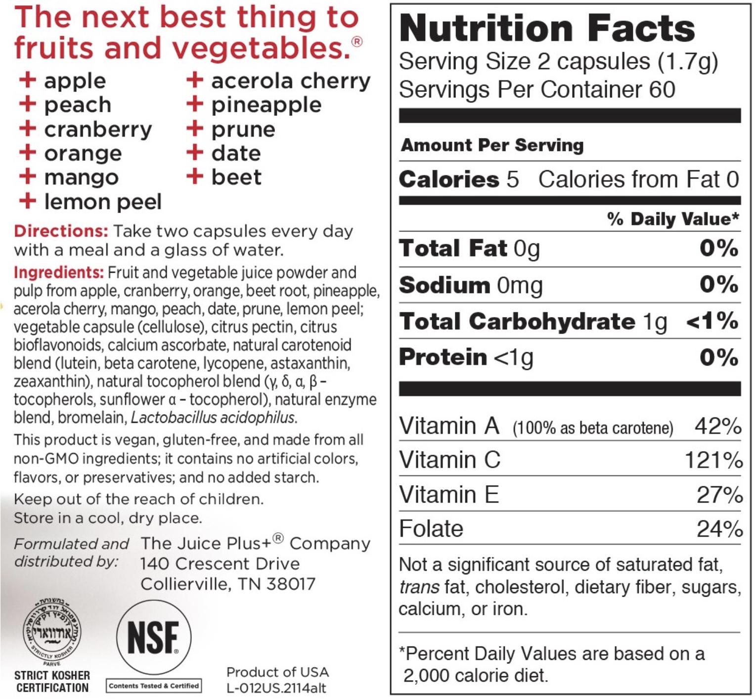 Juice Plus fruit nutrition label