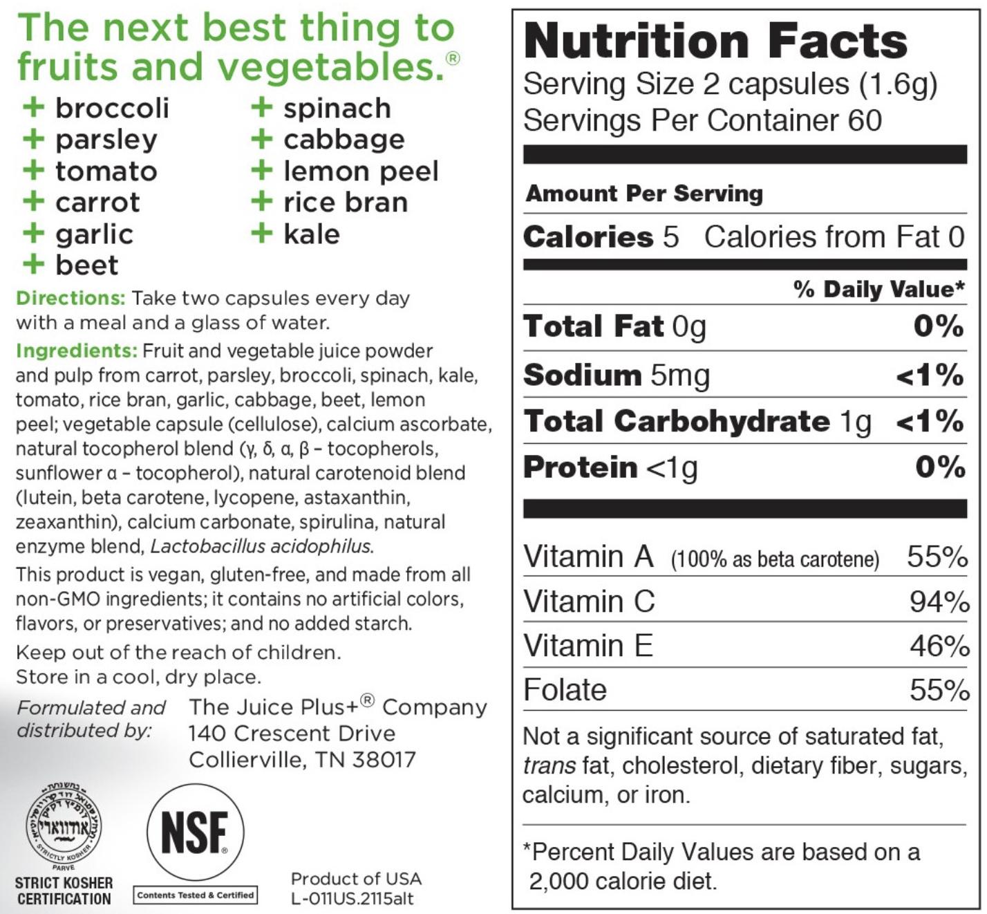 Juice Plus vegetable nutrition label