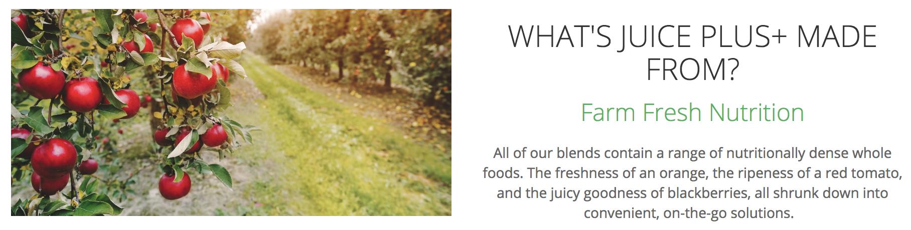 screenshot from the Juice Plus+ website