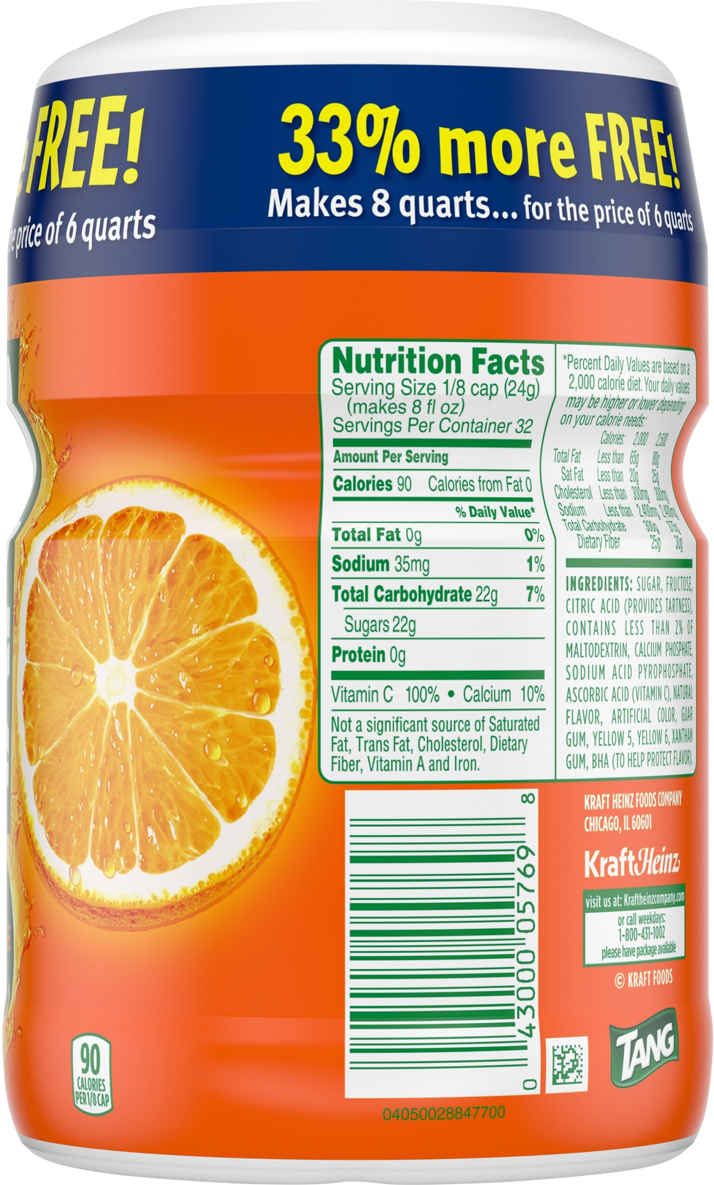 Tang nutrition label